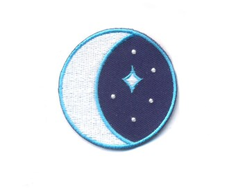 Stargazer Patch - Glow in the dark Iron-on Outer Space Moon and Star Patches