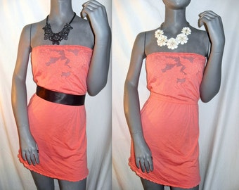 Coral/Peach Pink Crochet/Lace Tube/Strapless Empire Elastic Waist Babydoll Swim Cover up/Dress M