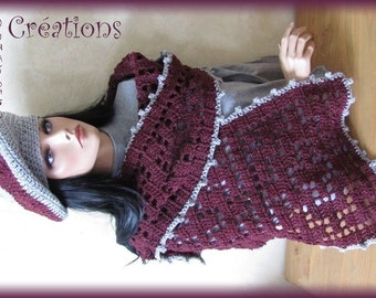 Scarf and beret wool handmade bordeaux grey crochet openwork patterns