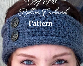 Button headband knitting pattern, button earband pattern, beginner knitting pattern, earband knitting pattern, easy knitting pattern
