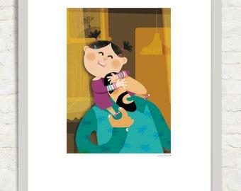 The mona de Joana. Illustration of the Joana mona. Editorial leatherback 2014. Digital Giclee Print.