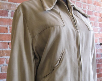 Vintage 1940's Gabardine Ricky Jacket //Khaki Wool Gabardine Cropped Jacket //Elvis Jacket // Rock and Roll Stage Rockabilly // Men's Size M