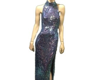 Della Ronfogali Sequin Evening Gown