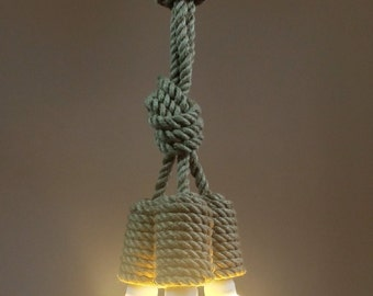 "Jute Big Trio 50cm (~20"") pendant light made from sailing rope, hanging light, industrial light, loft light, marine style"