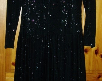 Unusual Berkertex Black Party Dress (1970's, Size 12)