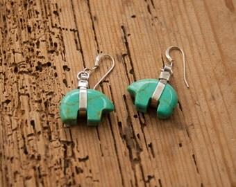 Turquoise & Sterling Silver Zuni Bear Earrings