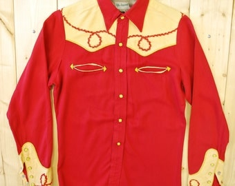 Vintage 1940's/50's Yellow/ Red Gabardine Western Shirt / Westmount Mfg. / Calgary Stampede / Cowpunk /Retro Collectable Rare