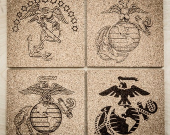 Set of 4 USMC Cork Coasters