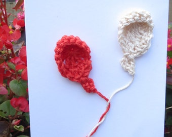 Handmade New Baby card with crochet balloon motifs and a choice of wording