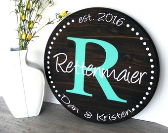 """Custom Wood Sign - 18"""" -  Personalized Circle Sign - Personalized Signs - Round - Established Sign - Family Sign - Initial - Room Decor"""