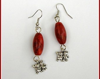 Coral earrings, coral bead earrings, bead earrings, coral