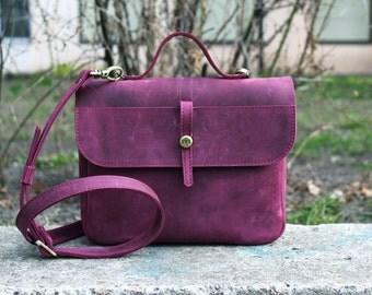 """Leather women bag, shoulder bag, leather handmade bag,  bordeaux shoulder bag """"Lira"""""""