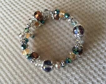Amber and Teal Glitz & Glamor Beaded Bracelet