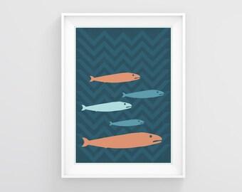 Fish art, Printable wall art, Fisherman, Gift for him, Nautical print, Kitchen decor, Fish illustration, Animal poster, Fish painting,Prints