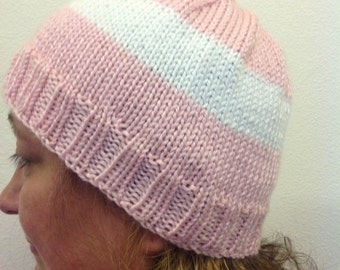 Pink with white stripe knit hat