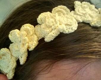 White Flower Crochet Headband