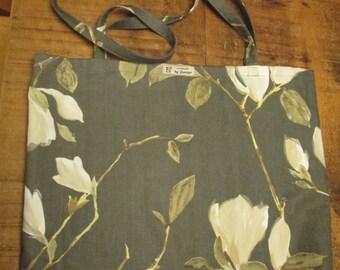 Grey Magnolia Flower Tote Bag