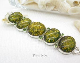 Extra Large Amber and Peridot Sterling Silver Bracelet