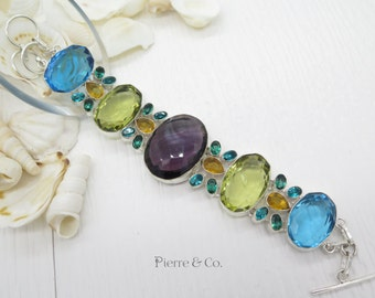Amethyst Lemon Topaz Blue Topaz Sterling Silver Bracelet