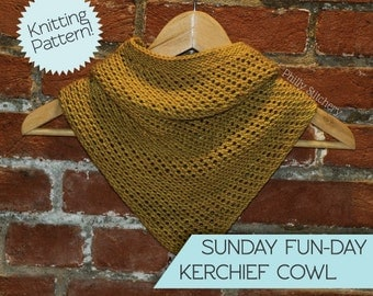 Knitted Cowl Pattern, Knit Kerchief Cowl Pattern, Knit Cowl, Knit Scarf Pattern, Knitting Pattern
