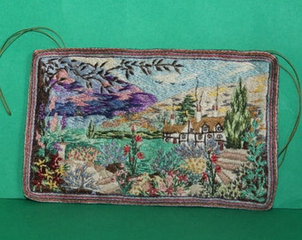Vintage Dolls House Embroidered Wall Hanging