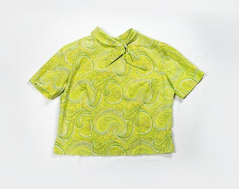 Lime Green Paisley Blouse with Neck Tie