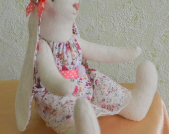 Rabbit Easter Bunny hare Tilde interior Bunny in dress rabbit as a gift to his daughter.