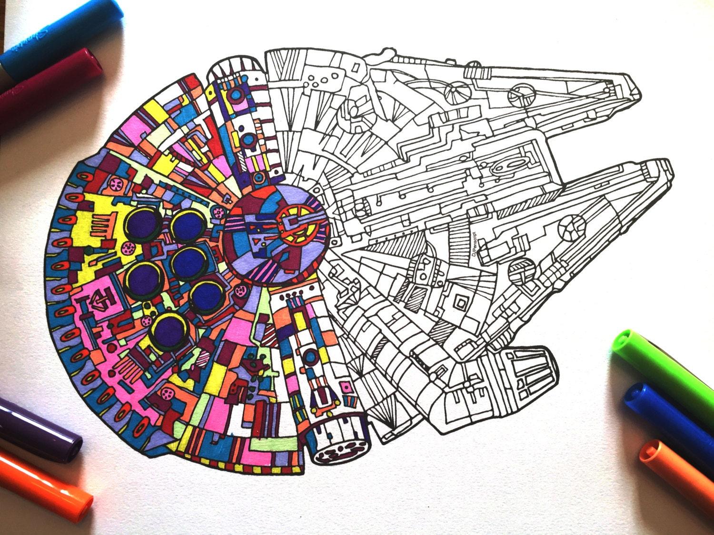 millennium falcon pdf zentangle coloring page. Black Bedroom Furniture Sets. Home Design Ideas