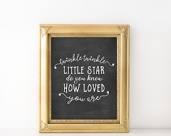 Twinkle twinkle little star print - Typography rhyme print - Nursery rhyme print - Typography art print - Printable nursery decor