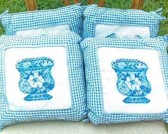 Cross Stitched Pillows/Set of 4 Pillows /Country Decor/Victorian Decor