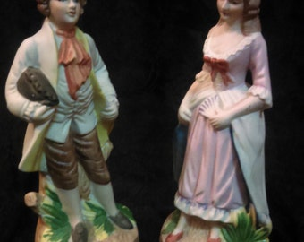 """Colonial couple figurines/ Hand made/ Vintage/ Home decor/Collectors/ 8"""" Height/ gift for her/ gift for birthday/ gift for mother's day"""
