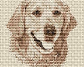 Golden Retriever Dog in Sepia Cross Stitch Design by Elite Designs