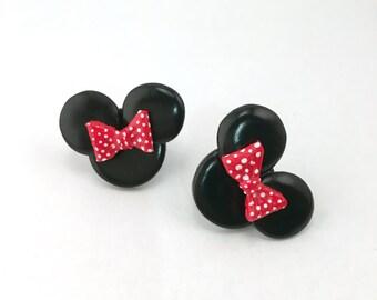 Minnie Mouse polymer clay stud earrings. Feminine stud earrings. Disney Mickey & Minnie