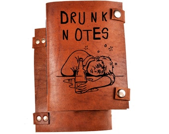 Leather journal for drunk notes - Leather notebook - journal leather - notebook leather - journal custom - journal personalized