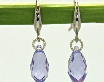Amethyst Swarovski Earrings, Swarovski Earrings, Swarovski Crystal Earrings