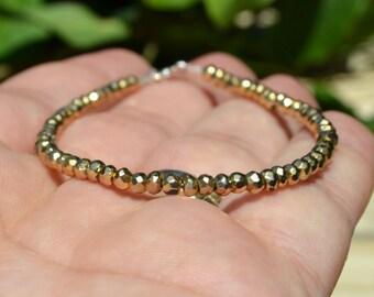 Beautiful Faceted Pyrite Beaded Bracelet