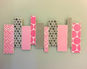 SALE! Nursery - Child's room - Pink and grey wooden wall decor - custom colors available!