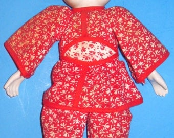 China Doll--Glazed- -Asian Girl- -VTG. -Blue and White
