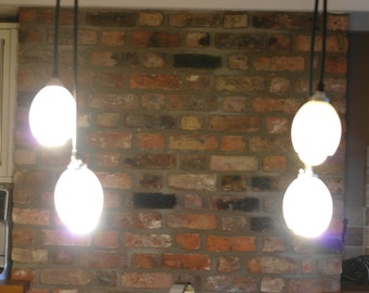 Up-cycled rustic/industrial galvanised steel/chrome 4 drop ceiling light