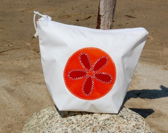 Sunblock Bag -Orange Sand Dollar - Made from Recycled Sail