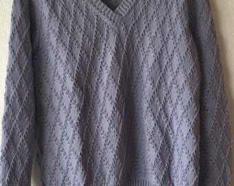 Hand-made knitted lilas sweater and skirt set