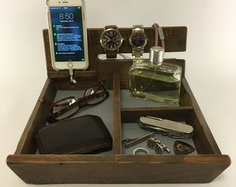 Wood Valet   Dresser Caddy   Wooden Valet   Watch and Phone Dock   Reclaimed Wood Organizer