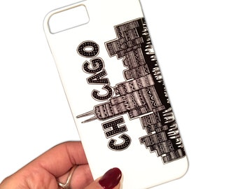 Chicago Phone Case - iPhone 6/6s Case - Chicago Skyline - Tribal Art - Drawing - Typography Art - Black and White - Pen & Ink