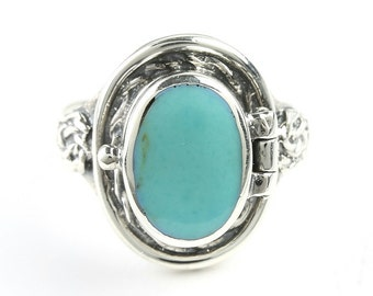 Turquoise Poison Ring, Sterling Silver Turquoise ring, 925, Boho, Gypsy, Festival Jewelry, Gemstone, Secret Compartment, Locket