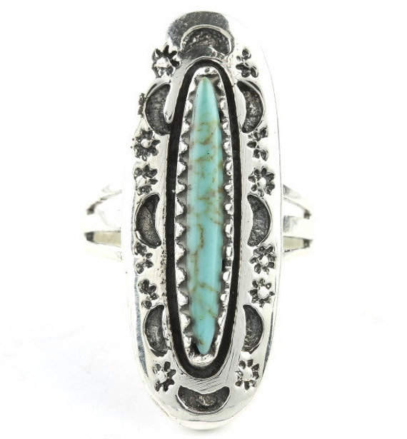 Rising Moon Turquoise Ring, Sterling Silver Turquoise ring, 925, Boho, Gypsy, Festival Jewelry, Gemstone, Southwestern Design, Moon, Stars