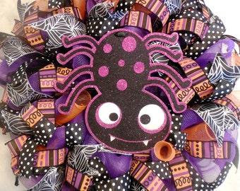 Halloween Wreath, Halloween Wreaths, Happy Halloween Wreath, Halloween, spider Wreath, Wreath, Wreaths, Fall Wreath