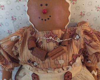Primitive Gingerbread Girl, Gingergal Doll, Primitive Dolls, Rustic Primitive, Gingerbread Doll, Art Doll, Primitive Doll, Folk Art