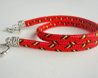 Braided kumihimo bracelet Colorful red bracelet Friendship bracelet  Bracelets for women Gift for girlfriend Wife red jewelry Red boho gift