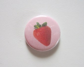 Strawberry pinback button badge