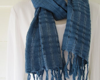 Cotton scarf hand woven in Java, hand-dyed with indigo, 14 x 62 inches